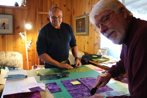 Rick Deshler and Ed Chappelle cut all the fabric for the quilt.