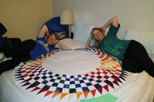 Mary and Chellye pose with the quilt center!