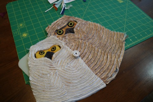 Owlets, created by Barb Deshler using hand made chenille techinques.