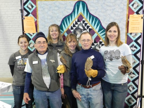 The Hawks Aloft Team (l-r): Gena Esposito, Education and Outreach Coordinator, Chuck Brandt, co-founder and volunteer, Chellye Porter, volunteer, Lizzie Roberts, educator, Maurice Mackey, volunteer, and Erin Greenlee, Ornithologist.