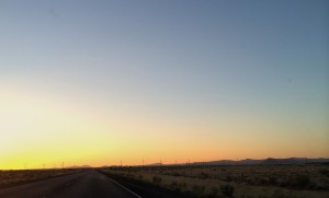 A clear-sky sunset from somewhere between Deming and Silver City